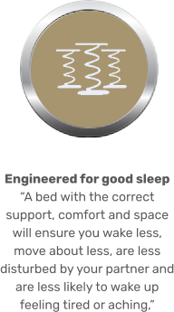 "Engineered for good sleep  ""A bed with the correct support, comfort and space will ensure you wake less, move about less, are less disturbed by your partner and are less likely to wake up feeling tired or aching,"""
